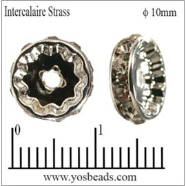 Apprêts Intercalaires Strass - 10 mm - Transparent