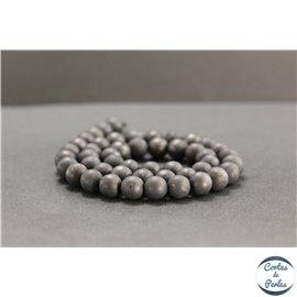 Perles dépolies en shungite de Russie - Rondes/8mm - Grade A