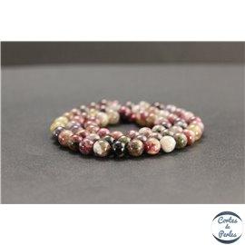 Perles en tourmaline pourpre de Madagascar - Rondes/6mm - Grade AB