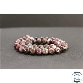 Perles en tourmaline pourpre de Madagascar - Rondes/8mm - Grade AB