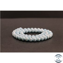 Perles en aragonite bleue d'Afrique - Rondes/6mm - Grade AA