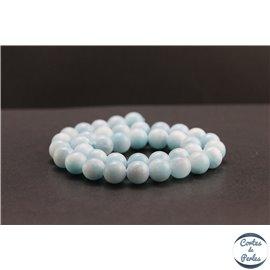 Perles en aragonite bleue d'Afrique - Rondes/10mm - Grade AA