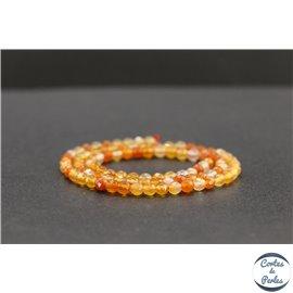 Perles facettées en cornaline de Madagascar - Rondes/4mm - Grade AB