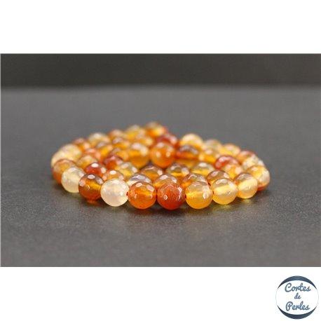 Perles facettées en cornaline de Madagascar - Rondes/8mm - Grade AB