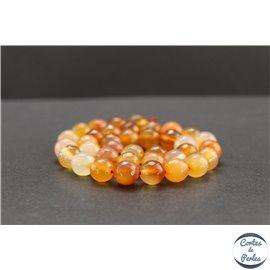 Perles facettées en cornaline de Madagascar - Rondes/10mm - Grade AB