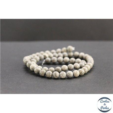 Perles en jaspe feuille d'argent d'Australie - Rondes/6mm - Grade A