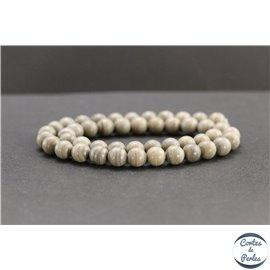 Perles en jaspe feuille d'argent d'Australie - Rondes/8mm - Grade A