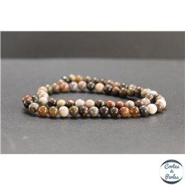 Perles en bois pétrifié de Madagascar - Rondes/6mm - Grade A