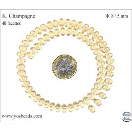 Perles en Cristal de Bohème - Roue/8 mm - Champagne