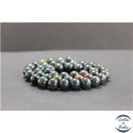 Perles en jaspe sanguin (héliotrope) d'Australie - Rondes/8mm - Grade A