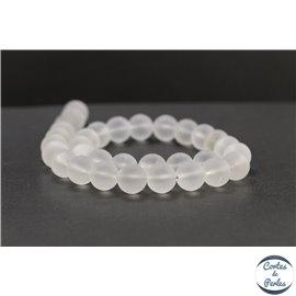 Perles dépolies en cristal de roche - Rondes/12mm - Grade A