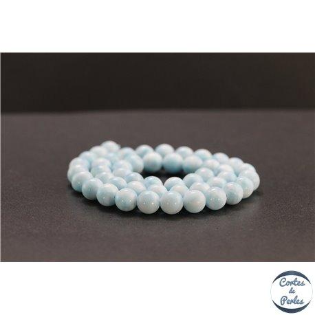 Perles en aragonite bleue d'Afrique - Rondes/8mm - Grade AA