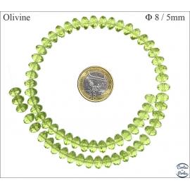 Perles en Cristal de Bohème - Roue/8 mm - Olivine