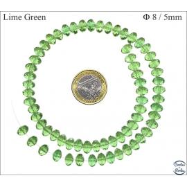 Perles en Cristal de Bohème - Roue/8 mm - Vert Chaux