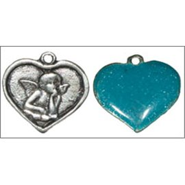 Apprêts pampilles émaillées - Coeurs/16 mm - Bleu
