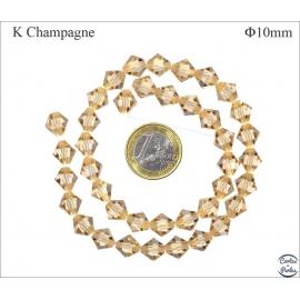 Perles en Cristal de Bohème - Toupie/10 mm - Champagne