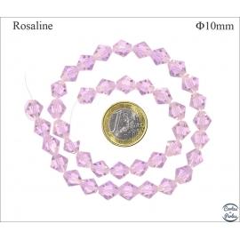 Perles en Cristal de Bohème - Toupie/10 mm - Rosaline