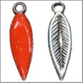 Apprêts Pampilles Émaillées - Plume/21 mm - Rouge