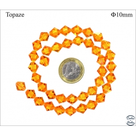Perles en Cristal de Bohème - Toupie/10 mm - Topaze