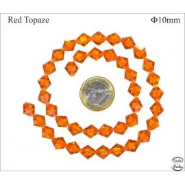 Perles en cristal - Toupies/10 mm - Topaze rouge