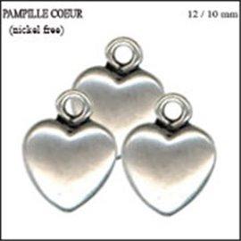 Apprêts Pampilles qualité premium - Coeur/12 mm - Argenté