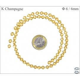 Perles en cristal - Toupies/6 mm - Champagne