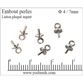 Attaches perles pour boucles d'oreilles - 4 mm - Argenté