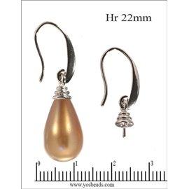 Support boucles d'oreilles - 22 mm - Argenté
