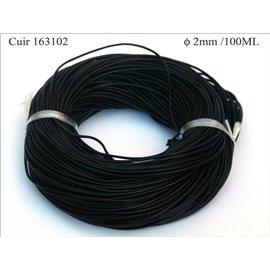 Cordon Cuir - 1,5 mm - Noir
