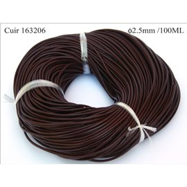 Cordon cuir - 2,5 mm - Marron
