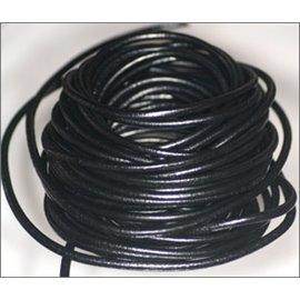 Cordon cuir - 4 mm - Noir