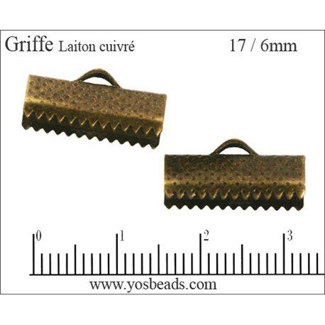 Fermoirs griffes - 17 mm - Cuivré