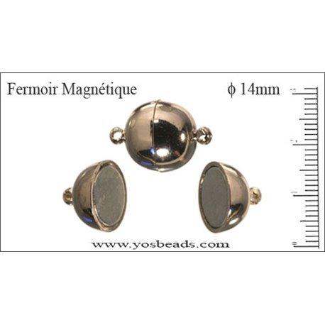Fermoirs magnétiques - Rond/14 mm - Argenté