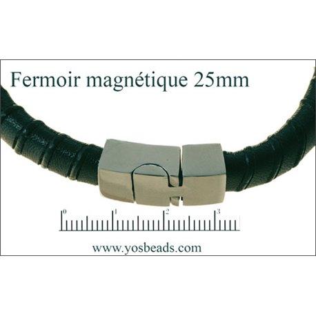 Fermoirs premium magnétiques - 25 mm - Argenté