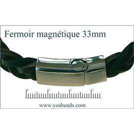 Fermoirs premium magnétiques - 33 mm - Argenté