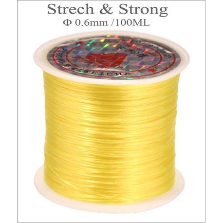 Bobine de fil élastique - 0,6 mm - Jaune