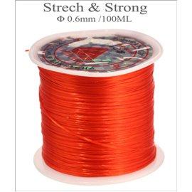 Bobine de fil élastique - 0,6 mm - Rouge