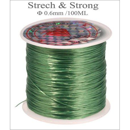 Bobine de fil élastique - 0,6 mm - Vert