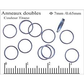 Anneaux doubles - 7 mm - Titane