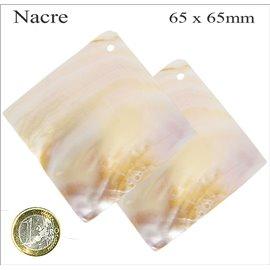 Pendentifs en Nacre - Carré/65 mm - Beige