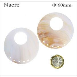 Pendentifs en Nacre - Cercle/60 mm - Beige