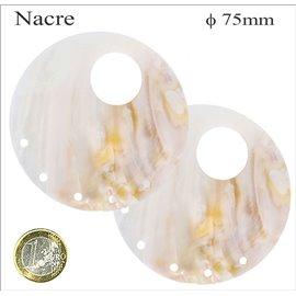Pendentifs en Nacre - Cercle/75 mm - Beige