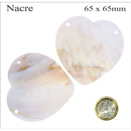 Pendentifs en Nacre - Coeur/65 mm - Beige