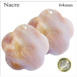 Pendentifs en Nacre - Fleur/64 mm - Beige