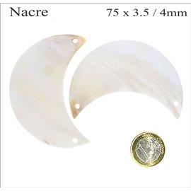 Pendentifs en Nacre - Lune/75 mm - Beige