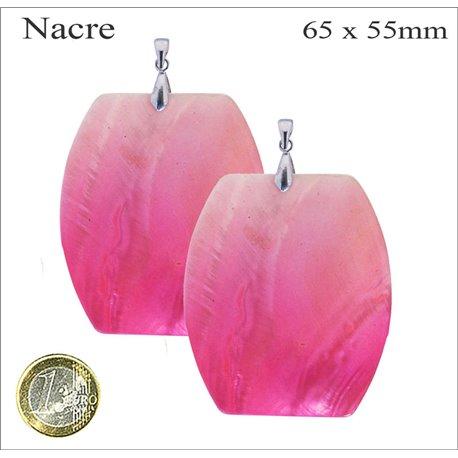 Pendentifs en Nacre - Rectangle/65 mm - Rose