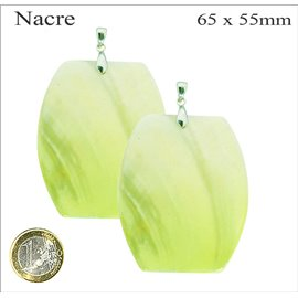Pendentifs en Nacre - Rectangle/65 mm - Vert