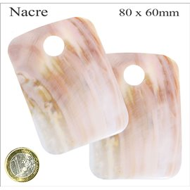 Pendentifs en Nacre - Rectangle/80 mm - Beige