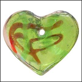 Pendentifs en verre de Murano - Coeur/33 mm - Vert