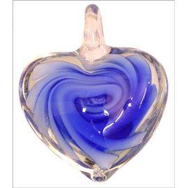 Pendentifs en verre de Murano - Coeur/35 mm - Bleu